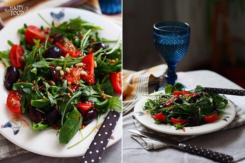 Простой салат со шпинатом, руколой и острой горчичной заправкой