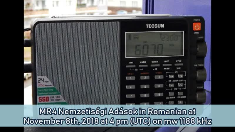 MR4 Nemzetiségi Adások in Rumänisch am 08.11.2018 um 16 Uhr (UTC) auf MW 1188 KHz