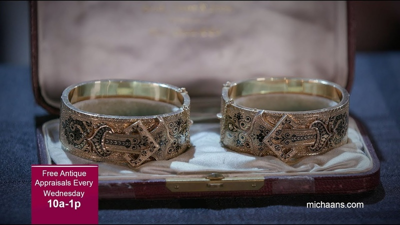 Victorian Enamel, 14k Yellow Gold Bracelets - Michaan's Auctions Appraisal Event Find