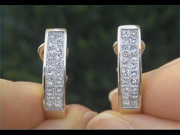 Certified VS2/H Natural Princess Cut Diamond 14k Yellow Gold Cocktail Earrings - C855