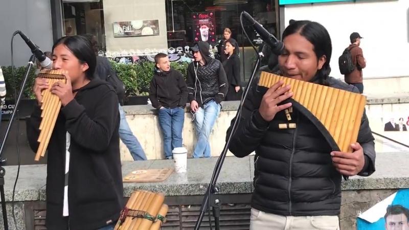 Перуанские уличные музыканты (пан-флейты) в Грузии