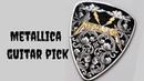 Engraving Metallica guitar pick /Time lapse/ 24k gold inlay