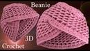 Gorro turbante a Crochet 3D en punto panal o nido de abeja tejido tallermanualperu