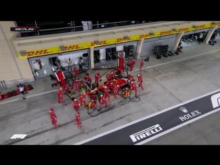 Неудачный пит-стоп Ferrari (Ф-1, Гран-При Бахрейна 2018)