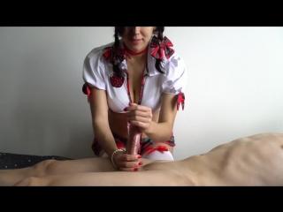 School girl - veronika charm - handjob masturbation cum uniform дрочит член в униформе