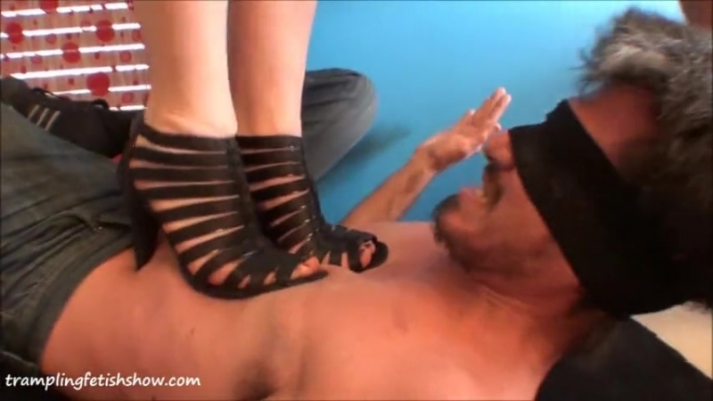 Trampling two girls black sandals and heels