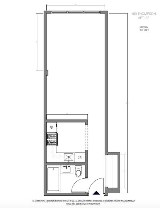 Прямоугольная студия 42 м в Нью-Йорке.