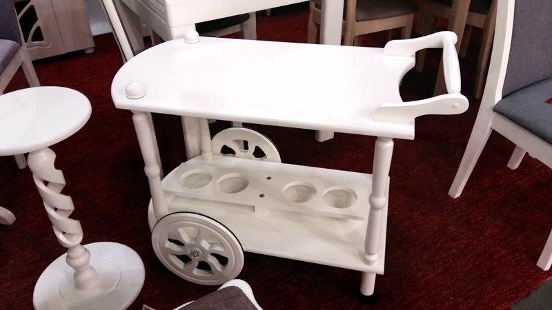 Сервировочный столик на колесиках Кемри, белый