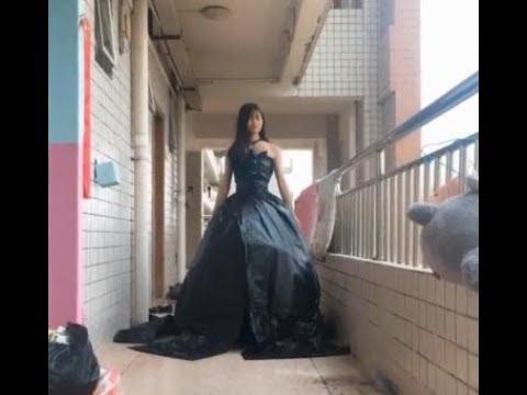 「抖音」把塑料袋穿出高大上黑色婚紗的感覺簡直了