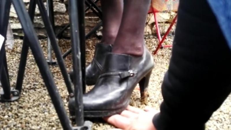 Hand trample black high heels