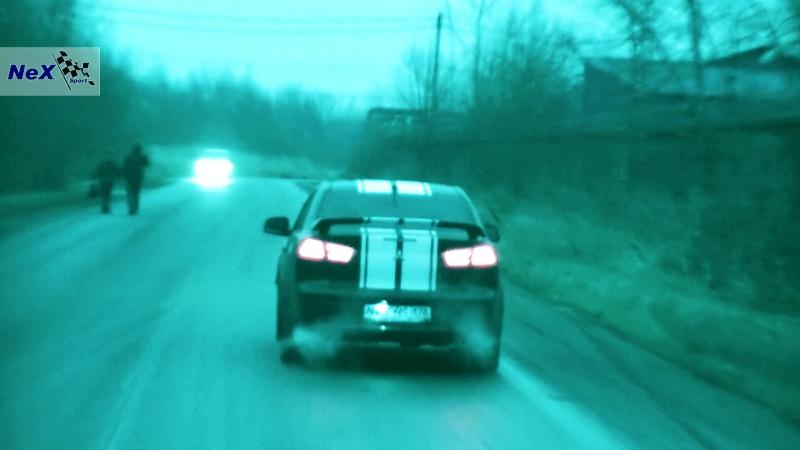 NeX® Mitsubishi Lancer X Restyle ЭКСКЛЮЗИВ Глушитель раздвоенный с насадками 76 мм Главный элемент тюнинга