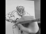 Drawing an awesome rider with pencils