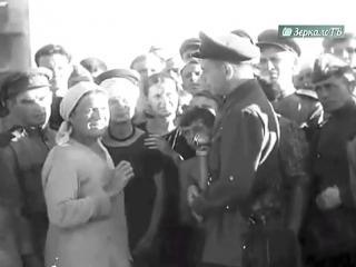 Публичная казнь фашистов на городской площади в Краснодаре , 18 июля 1943 г. Кинохроника.