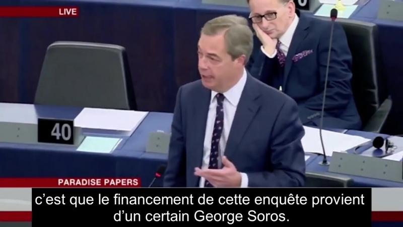 Nigel FARAGE accuse George SOROS de subversion politique Le 14 11 2017