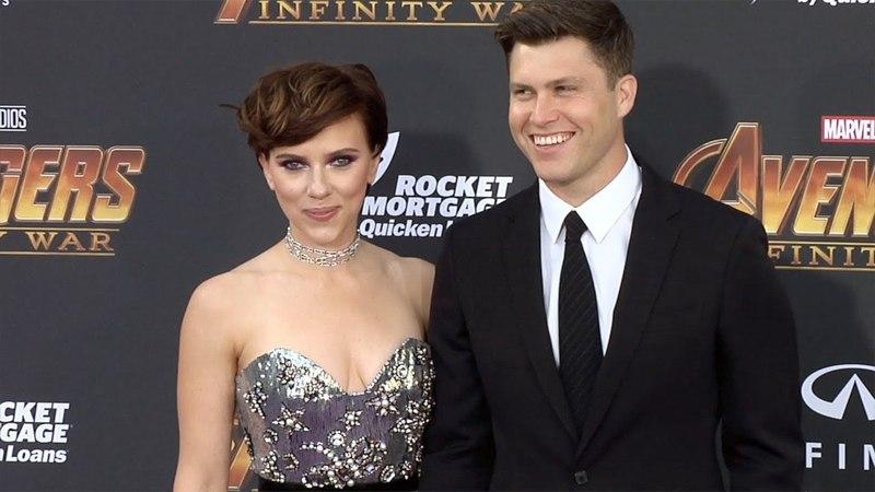 "Scarlett Johansson and Colin Jost ""Avengers: Infinity War"" World Premiere Purple Carpet"
