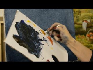 Как писать опавшие листья на земле в технике жидкого масла. Художник Надежда Ильина.art-povar.ru