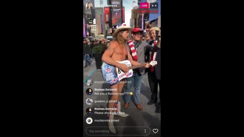 Kate Demianova (Russian model) tours Times Square in search for Trump