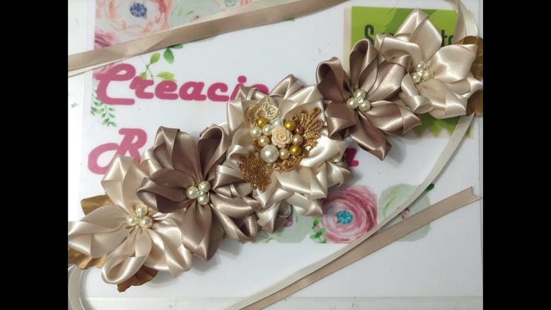 Coletero de Flor fácil de listón VIDEO No. 585 creaciones rosa isela
