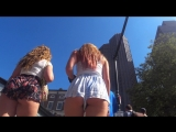 Brunette + Blonde teens in loose short shorts