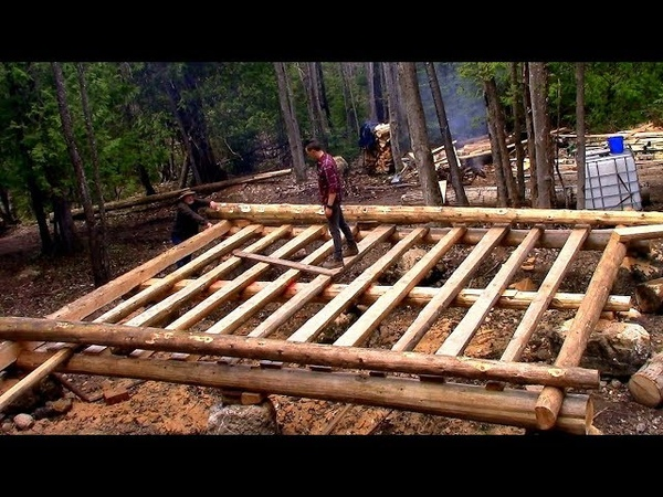 Log Cabin on a Budget- Ep 9- Sill Logs Floor Joists