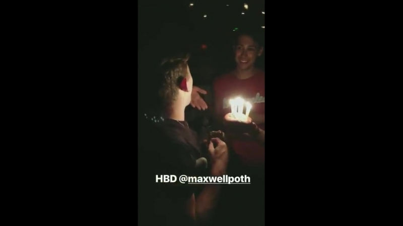 VIDEO LAST NIGHT via marcomonster instagram story. Listen to Adam singing LOUDLY and riffing, Happy Birthday to Maxwell