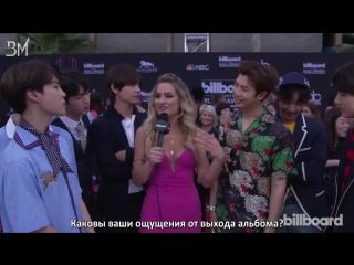 [RUS SUB][21.05.18] BTS Talks Love of Latin Pop and Show Off BBMA Victory Dance @ BBMAs Red Carpet