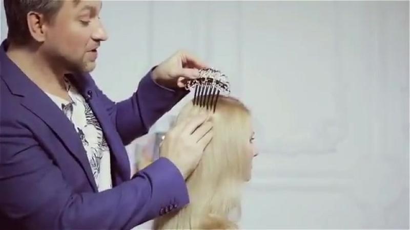 Как закрепить гребень на длинные распущенные волосы