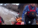 The rescue kayaker caught on the life jacket.