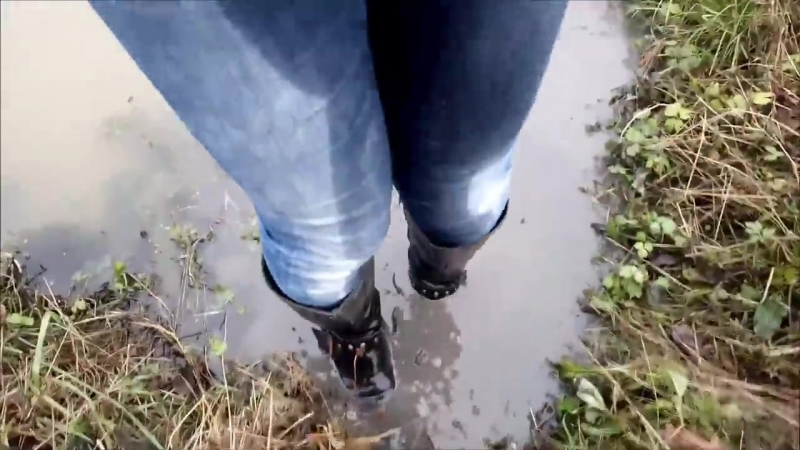 A girl in wet leather boots and in wet jeans in deep water (1) MOV 0137 11 08112
