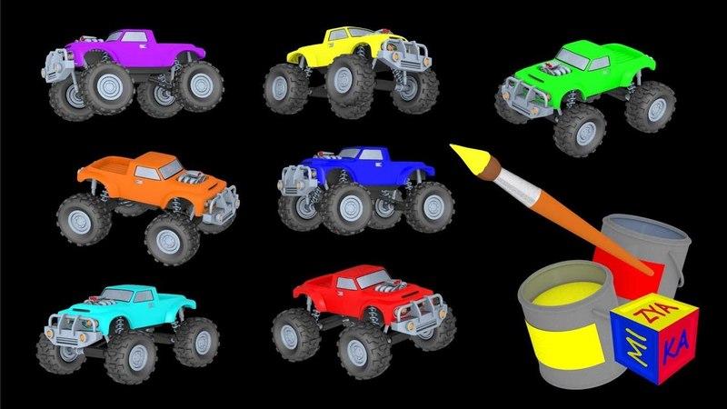 Apprendre les couleurs et chiffres en francais avec les jolis camions. Dessin animé éducatif