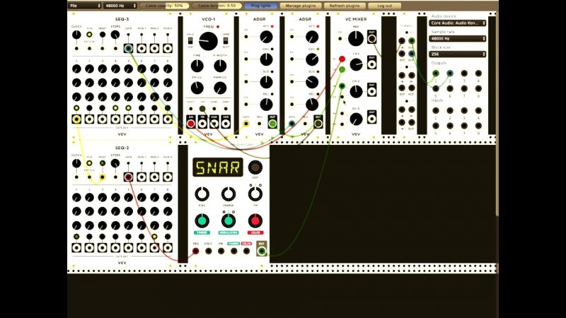 Bass Drum, Snare Hats in Virtual Modular with SPEKTRAL