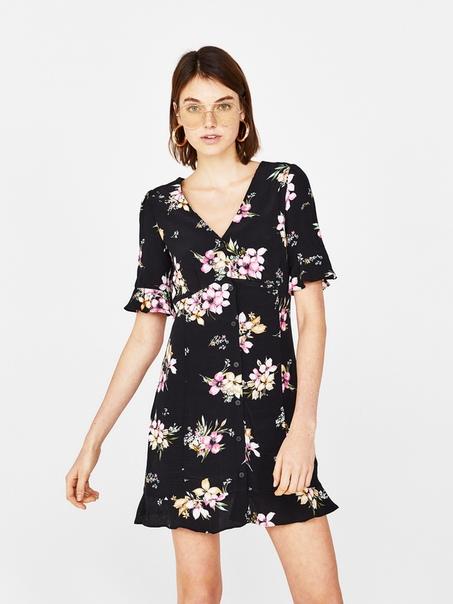 Платье-рубашка с V-образным вырезом