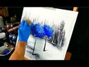 3 blue trees on black and white ice painting video step by step demo fan brush and round brush