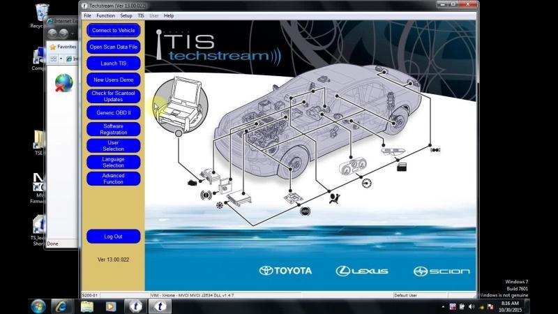 Install toyota mini vci techstream 13.00.022