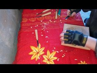 Резная шкатулка из ольхи. Часть 2 . Нанесение рисунка и резьба на примере одной крышки