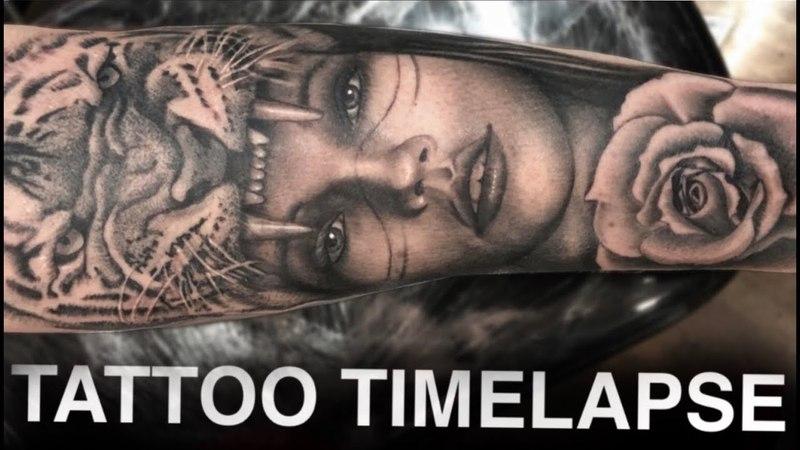 TATTOO TIMELAPSE   TIGER HEADDRESS   CHRISSY LEE