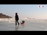 Ледяная стена на границе России и Китая