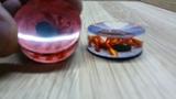 Фишки для нард из оргстекла с 3D пауками на паутине на красном и синем фоне, обзор 1