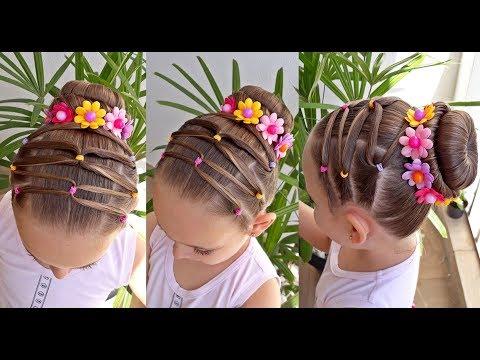 Penteado Infantil com coque, flores e ligas coloridas