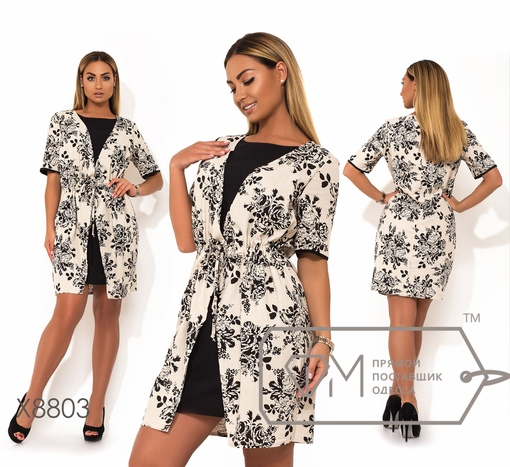 Платье № x8803 -двойка-обманка, цвет черный