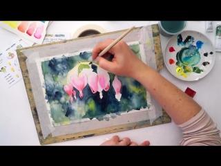 Speed painting из видео урока рисования акварелью Дицентра. Цветок разбитых сердец от Юлии Пашковой