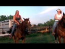 A curvy owner rides a beautiful Quarter Horse