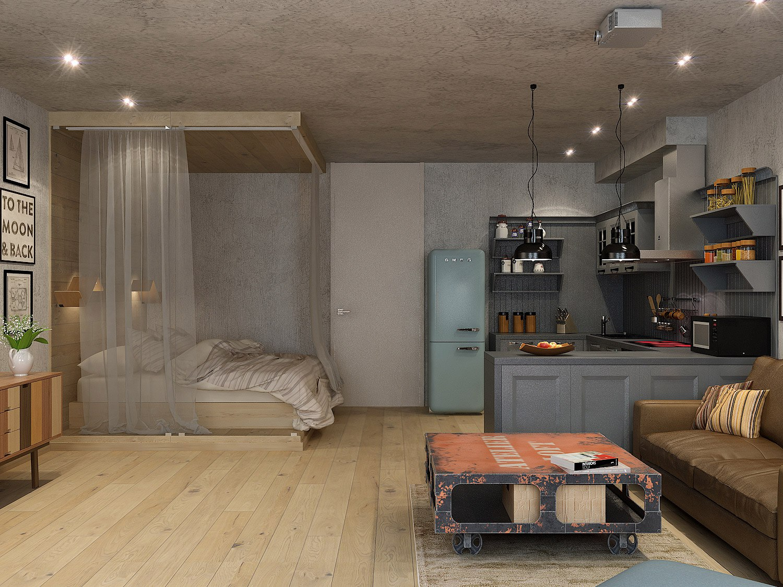 Комната в квартире-студии неизвестного метража.