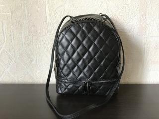 Сумка-рюкзак 29345 стеганый /Италия/ M черный