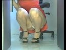 Office girl squatting