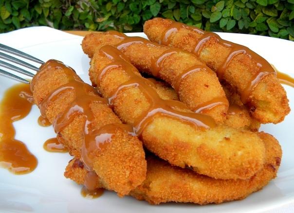 Банановый десерт — жаренные бананы в сухарях