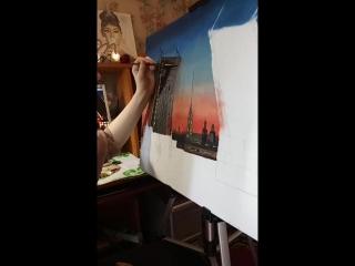 Урок живописи с ученицей Кристиной
