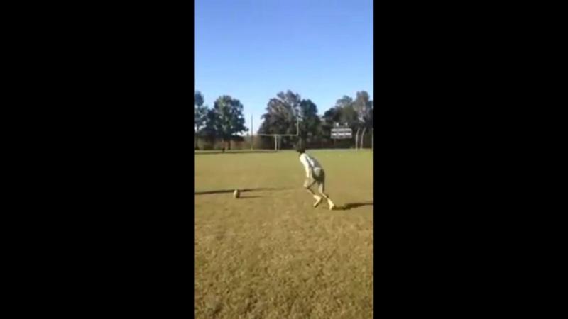 High School kid kicks 51 yard Field Goal with nobody holding the ball