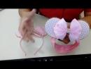 Ободок с ушками и бантиком Tiara e faixa de bebê da Minie cor de rosa com pérola DIY
