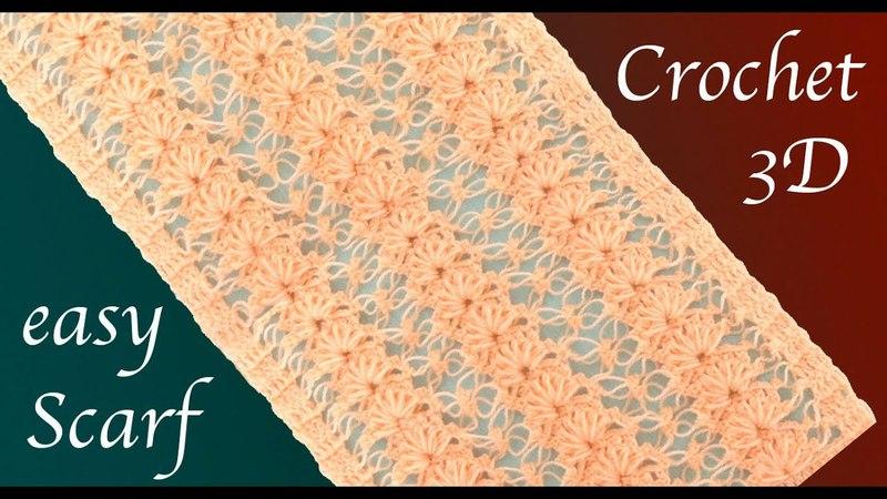 Como tejer Bufanda con Gancho Crochet punto encaje de flores 3D tejido tallermanualperu